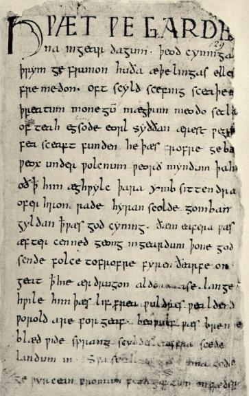 first page of Beowulf